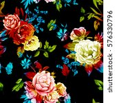 wild roses  peony  cornflowers  ... | Shutterstock .eps vector #576330796