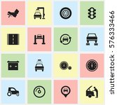 set of 16 editable car icons.... | Shutterstock . vector #576333466