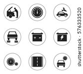 set of 9 editable car icons....