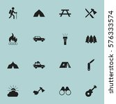 set of 16 editable camping... | Shutterstock . vector #576333574