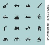 set of 16 editable camping... | Shutterstock . vector #576334288
