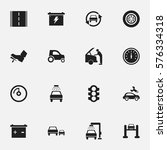 set of 16 editable transport... | Shutterstock . vector #576334318