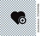 heart icon vector on... | Shutterstock .eps vector #576349486