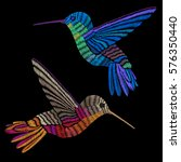 hummingbirds embroidery.... | Shutterstock .eps vector #576350440