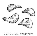 potato chips. vector engraving... | Shutterstock .eps vector #576352420
