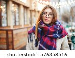 girl near cafe with garland... | Shutterstock . vector #576358516