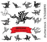 set of sketched origami paper... | Shutterstock . vector #576368890