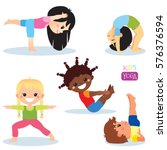 cute kids in different yoga... | Shutterstock .eps vector #576376594