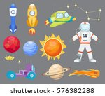 astronomy space rocket cartoon... | Shutterstock .eps vector #576382288