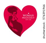 pregnant woman of the red heart ... | Shutterstock .eps vector #576391966