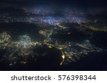 cityscape at night from a bird... | Shutterstock . vector #576398344