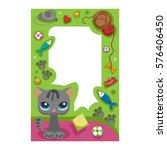 cute happy birthday border cat... | Shutterstock .eps vector #576406450