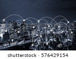 network connected city concept... | Shutterstock . vector #576429154
