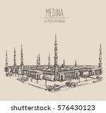 al masjid an nabawi in the city ... | Shutterstock .eps vector #576430123