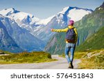 hitchhiking tourism concept.... | Shutterstock . vector #576451843