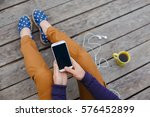 young woman using smart phone... | Shutterstock . vector #576452899