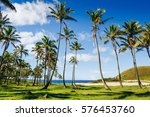 anakena beach and ahu nau nau... | Shutterstock . vector #576453760