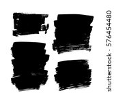 set of black paint  ink  grunge ... | Shutterstock .eps vector #576454480