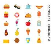 pixel art food computer design... | Shutterstock .eps vector #576466720