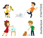 children are looked after  are... | Shutterstock .eps vector #576475333