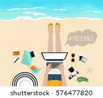 blogger on the sea. follow me... | Shutterstock .eps vector #576477820