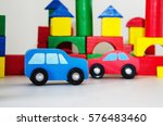 two wooden cars  | Shutterstock . vector #576483460