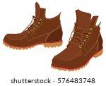 men winter boots. hiking boots. | Shutterstock .eps vector #576483748