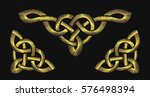 gold embroidery on a black... | Shutterstock .eps vector #576498394