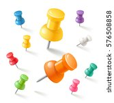 push pins icons set. vector... | Shutterstock .eps vector #576508858