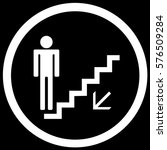 stairs sign down black. vector. | Shutterstock .eps vector #576509284