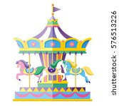 Carousel With Horses. Vector...