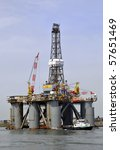 Oil drilling platform - stock photo