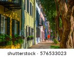 rainbow row colorful and well... | Shutterstock . vector #576533023