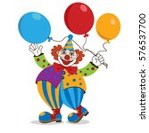 clown with colorful balloons.... | Shutterstock .eps vector #576537700