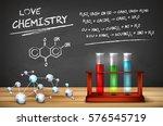 chemistry still life   wooden... | Shutterstock .eps vector #576545719