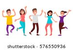 dancing people. happy men and... | Shutterstock .eps vector #576550936