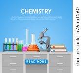 modern tool set of chemistry.... | Shutterstock .eps vector #576551560