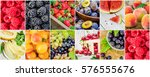 fruits and berries. collage. | Shutterstock . vector #576555676