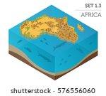 flat 3d isometric africa map... | Shutterstock .eps vector #576556060