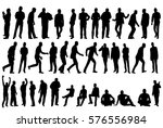 vector collection of silhouettes of men in isolation, business, sit, walk | Shutterstock vector #576556984