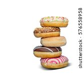assorted donuts on white  | Shutterstock . vector #576558958