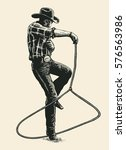 cowboy shows mastery of the... | Shutterstock .eps vector #576563986