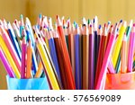 many colored pencils in the... | Shutterstock . vector #576569089
