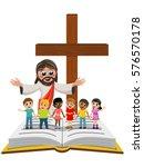 Cartoon Open Arms Jesus In...