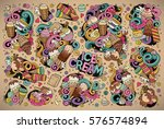 colorful vector hand drawn... | Shutterstock .eps vector #576574894
