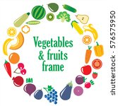 set of vegetables and fruits... | Shutterstock .eps vector #576575950