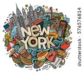 Cartoon cute doodles hand drawn New York inscription. Colorful illustration with american theme items. Line art detailed, with lots of objects background. Funny vector artwork