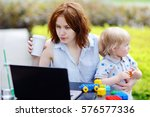 young mother working oh her... | Shutterstock . vector #576577336
