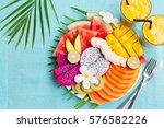 tropical fruits assortment on a ...   Shutterstock . vector #576582226
