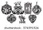 vector set of monochrome... | Shutterstock .eps vector #576591526